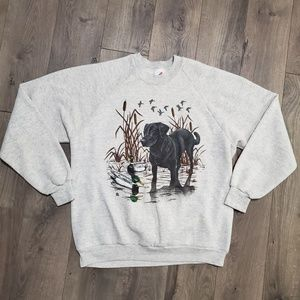 Vintage Sweaters - Vintage Lab Retriever & Duck Graphic Crewneck